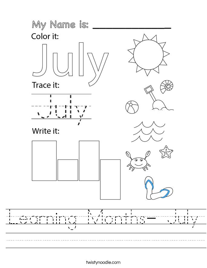 Learning Months- July Worksheet