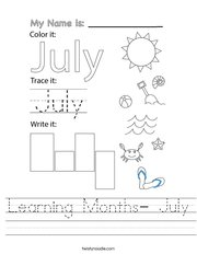 Learning Months- July Handwriting Sheet