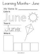 Learning Months- June Coloring Page