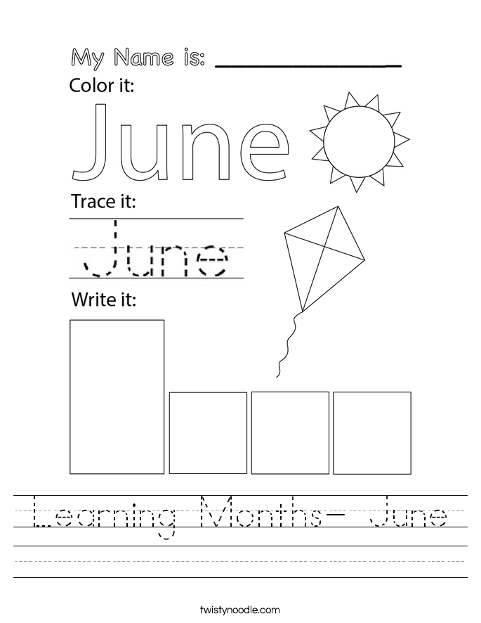 Learning Months- June Worksheet