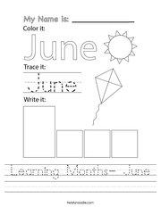 Learning Months- June Handwriting Sheet