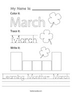 Learning Months- March Handwriting Sheet