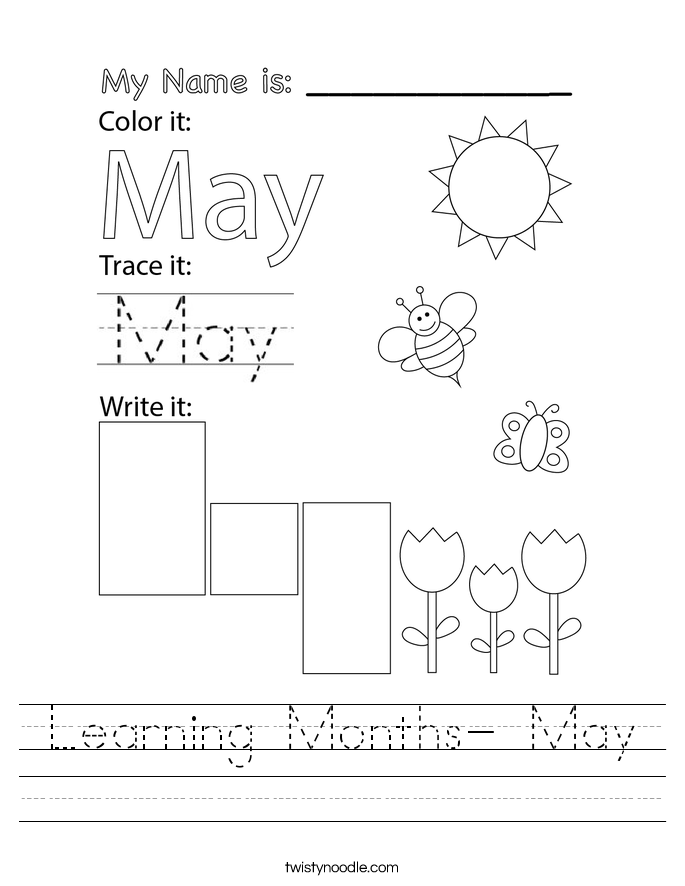 Learning Months- May Worksheet
