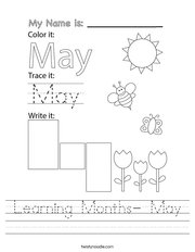 Learning Months- May Handwriting Sheet