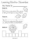 Learning Months- November Coloring Page