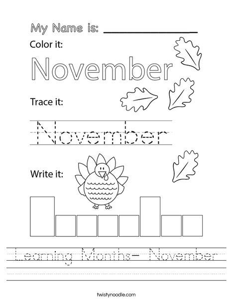 Learning Months- November Worksheet