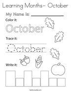 Learning Months- October Coloring Page