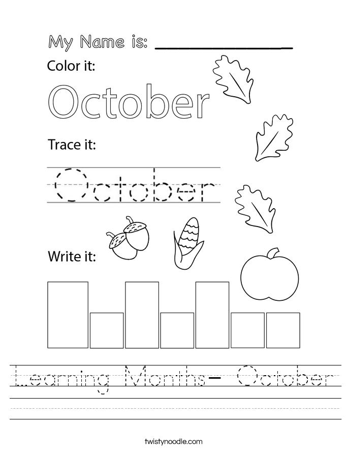 Learning Months- October Worksheet