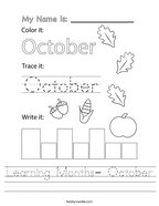 Learning Months- October Handwriting Sheet