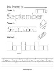 Learning Months- September Handwriting Sheet
