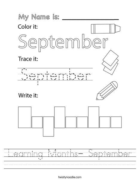 Learning Months- September Worksheet