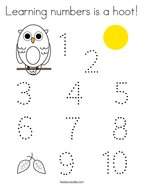 Learning numbers is a hoot Coloring Page