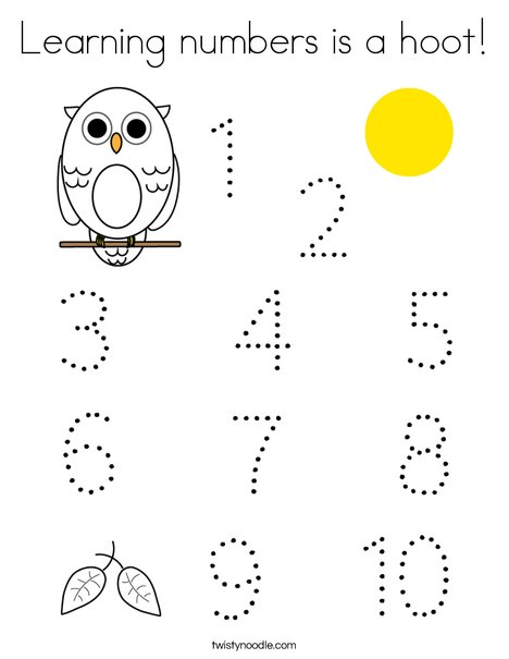 Learning Numbers Is A Hoot Coloring Page - Twisty Noodle