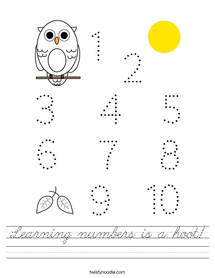 Learning numbers is a hoot! Worksheet