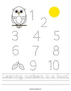 Learning numbers is a hoot Handwriting Sheet