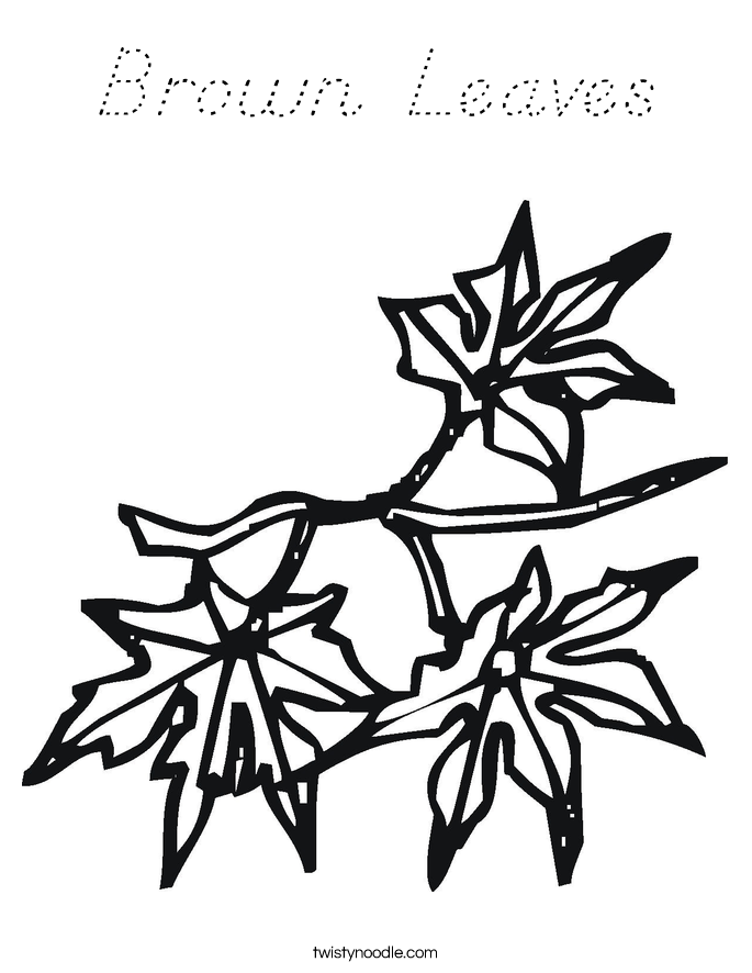 Brown Leaves Coloring Page