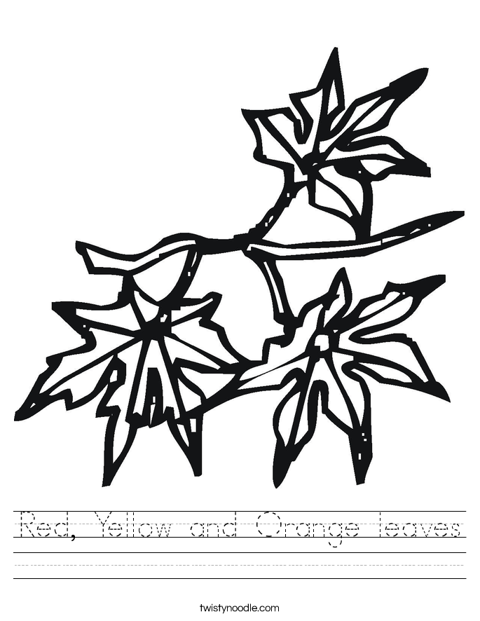 Red, Yellow and Orange leaves Worksheet