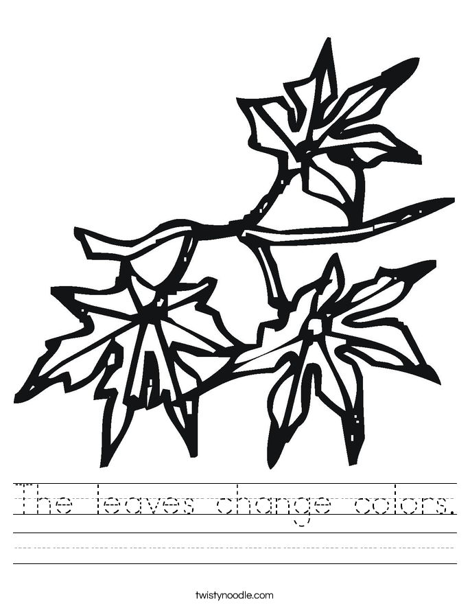 The leaves change colors. Worksheet