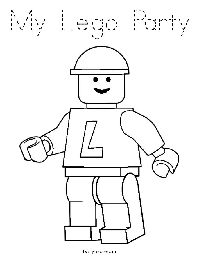 My Lego Party Coloring Page - Tracing - Twisty Noodle