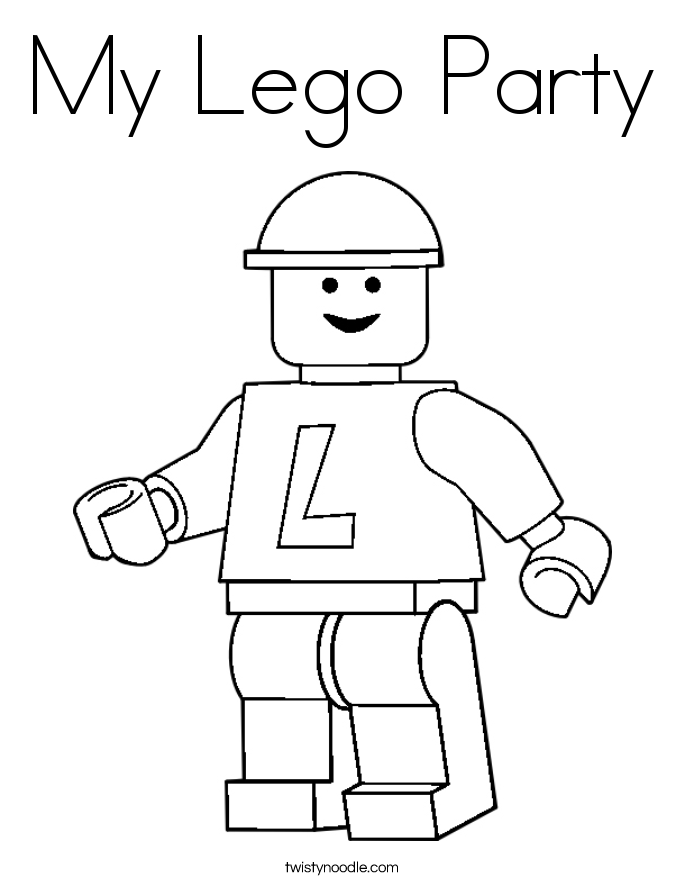 My lego party coloring page twisty noodle for Twisty noodle coloring pages