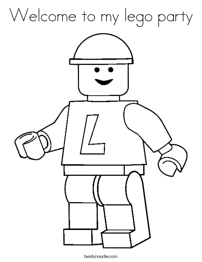 Welcome to my lego party Coloring Page