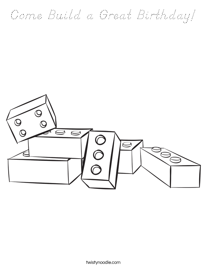 Come Build a Great Birthday! Coloring Page