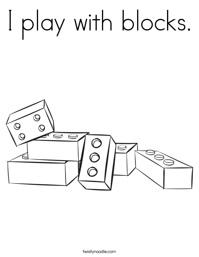 I play with blocks. Coloring Page