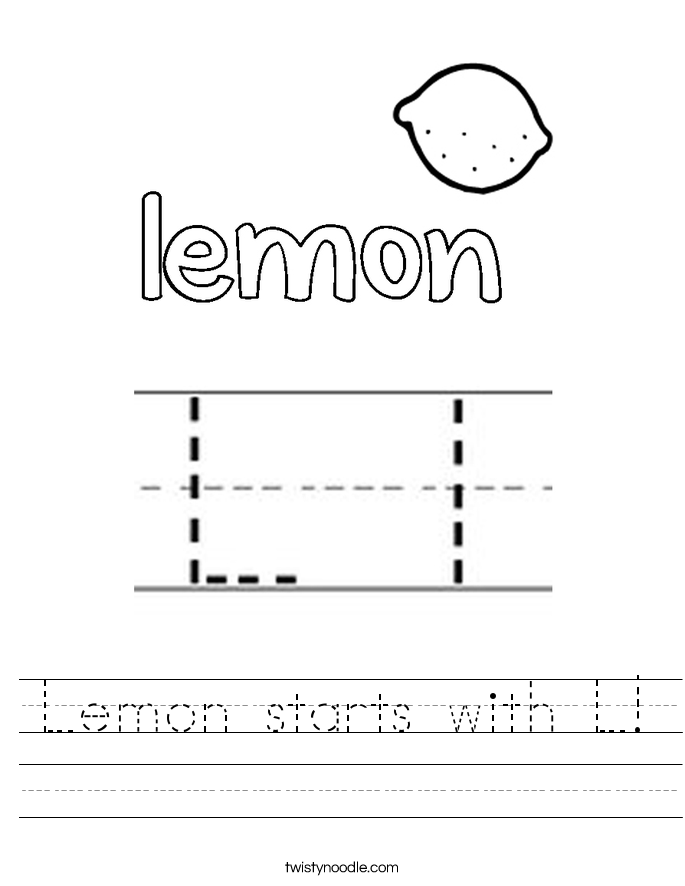 Lemon Starts With L Worksheet Twisty Noodle