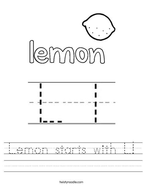 Lemon starts with L! Worksheet