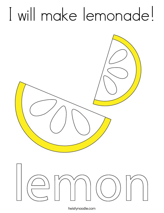 I will make lemonade! Coloring Page