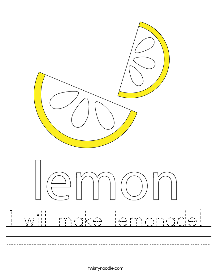 I will make lemonade! Worksheet