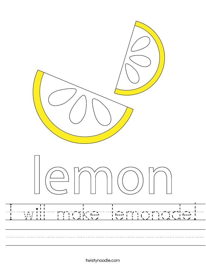 I will make lemonade! Worksheet