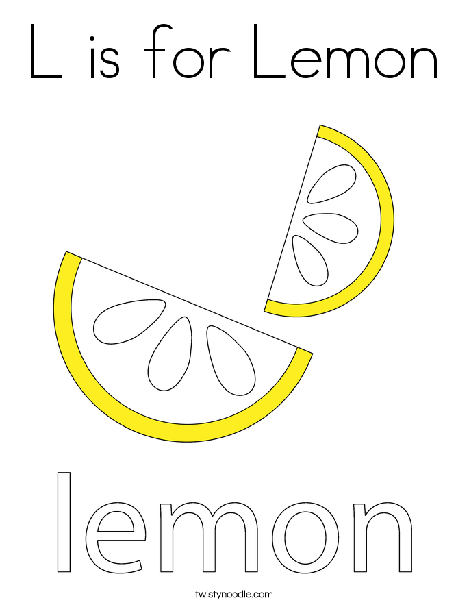 L is for Lemon Coloring Page