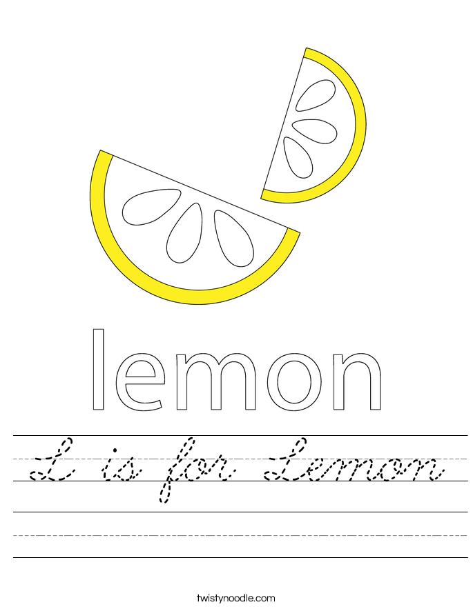 L is for Lemon Worksheet