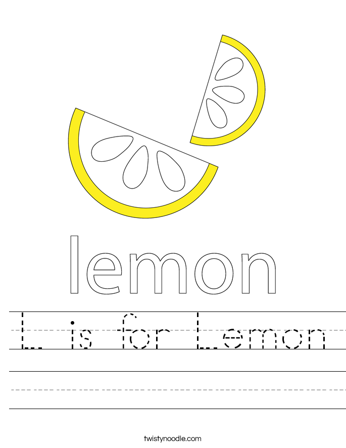 L is for Lemon Worksheet