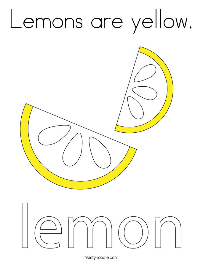Lemons are yellow. Coloring Page