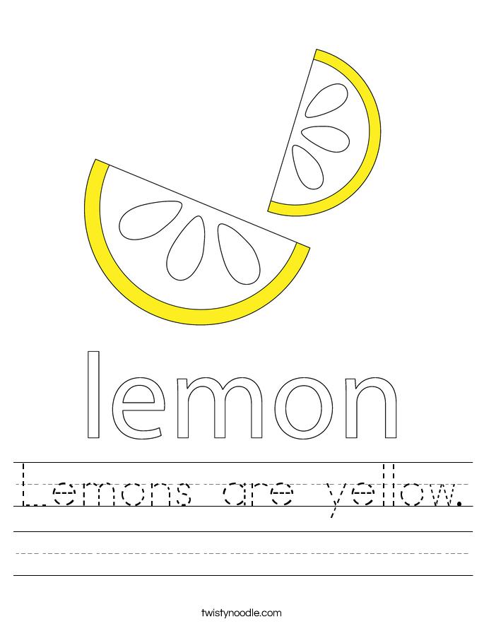 Lemons are yellow. Worksheet