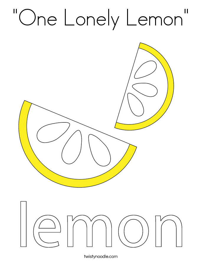 """One Lonely Lemon"" Coloring Page"