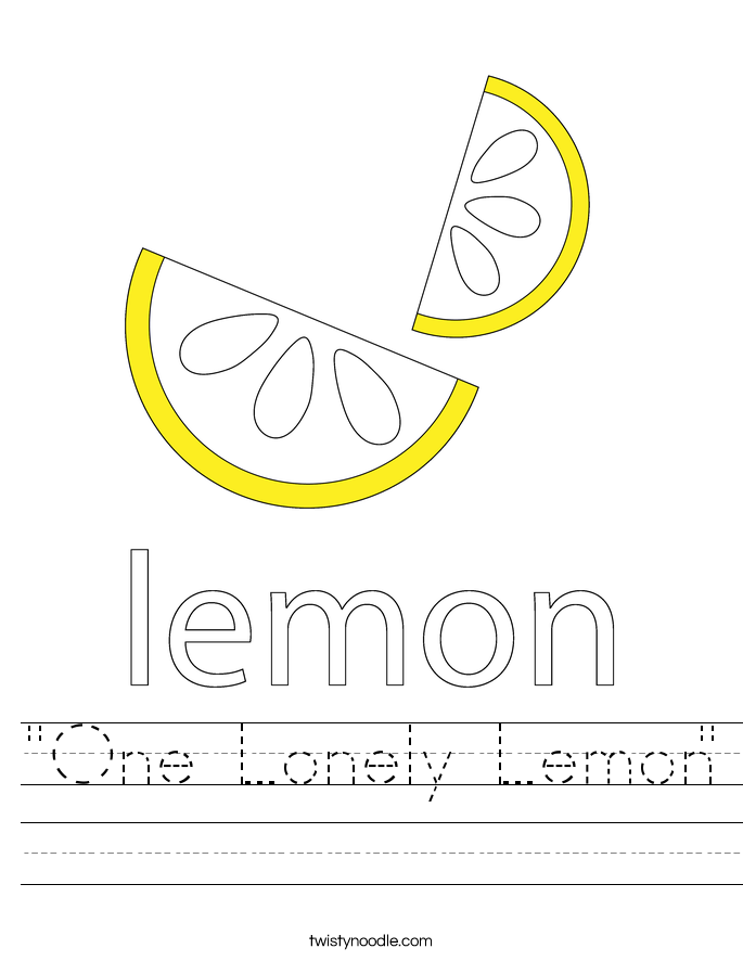 """One Lonely Lemon"" Worksheet"