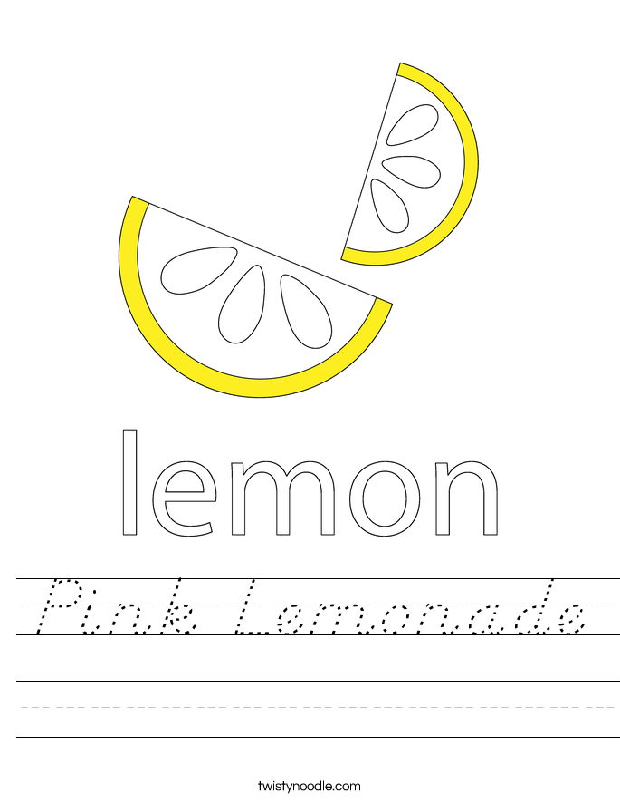 Pink Lemonade Worksheet