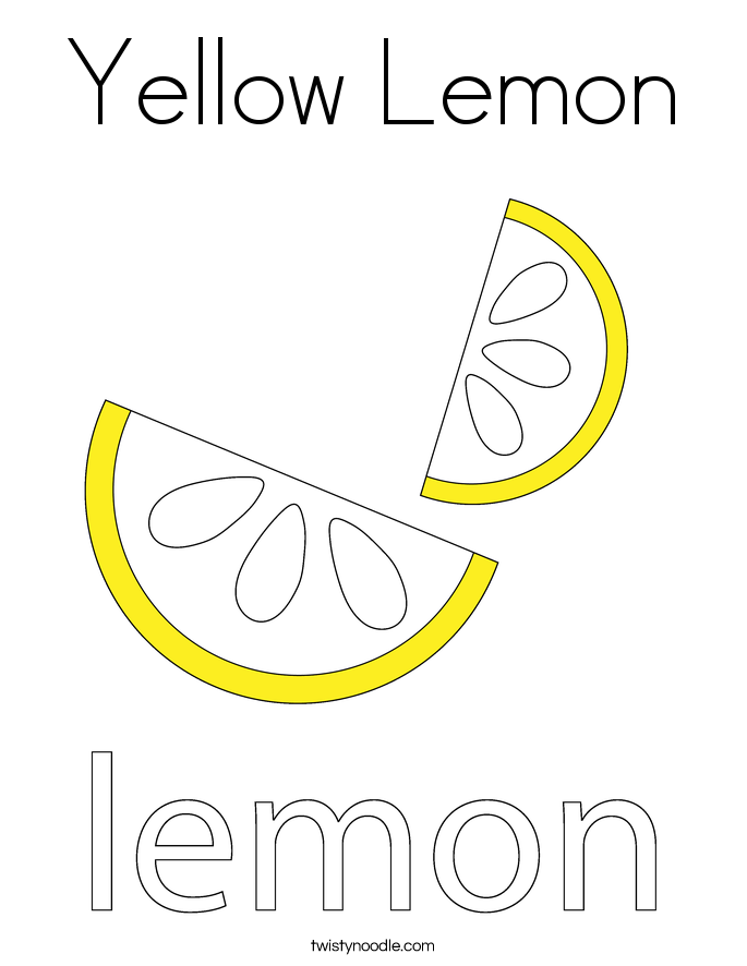 Yellow Lemon Coloring Page