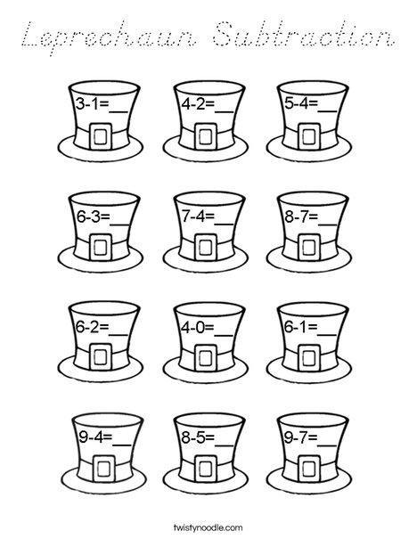Leprechaun Subtraction Coloring Page