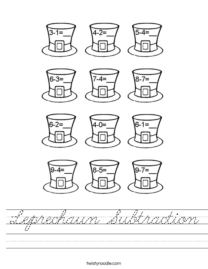 Leprechaun Subtraction Worksheet