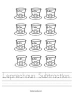 Leprechaun Subtraction Handwriting Sheet