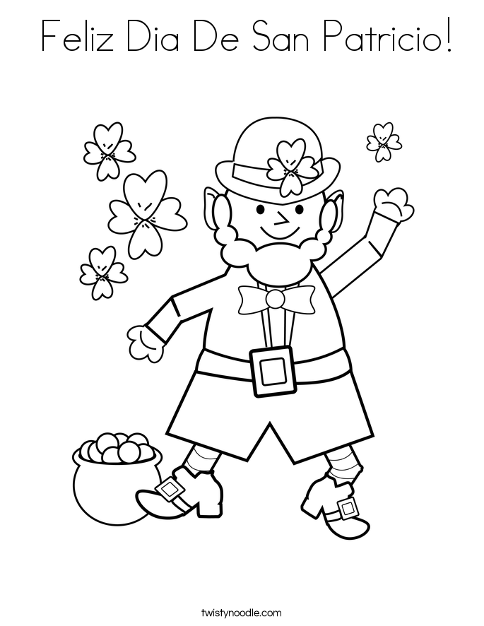 san patrick day coloring pages | Feliz Dia De San Patricio Coloring Page - Twisty Noodle