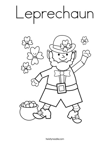 leprechaun coloring page twisty noodle