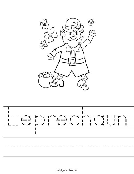 Leprechaun and Gold Pot Coloring Sheet | Turtle Diary