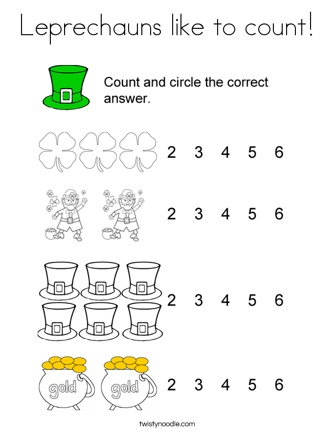 Leprechauns like to count! Coloring Page