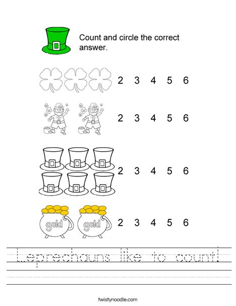 Leprechauns like to count! Worksheet