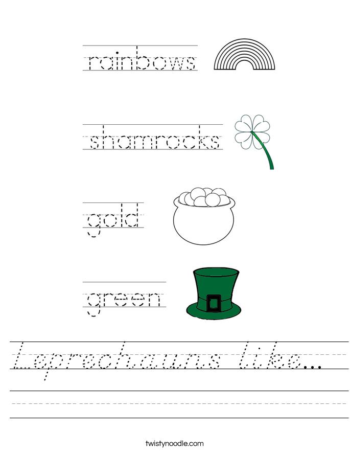 Leprechauns like...  Worksheet